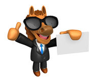 Wear sunglasses 3D Horse Mascot the right hand best gesture and Royalty Free Stock Images