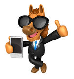 Wear sunglasses 3D Horse Mascot the right hand best gesture and Royalty Free Stock Photo