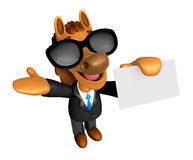 Wear sunglasses 3D Horse mascot the right hand guides and the le Royalty Free Stock Photo
