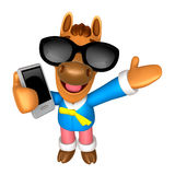Wear sunglasses 3D Horse mascot the right hand guides and the le Stock Photos