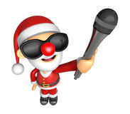 Wear sunglasses 3D Santa character is holding a microphone. 3D C Stock Photography