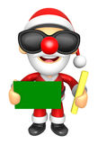 Wear sunglasses 3D Santa Mascot hand is holding a Chalk and Chal Royalty Free Stock Image