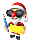 Wear sunglasses 3D Santa Mascot hand is holding a Yellow paper a Royalty Free Stock Photo