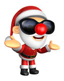 Wear sunglasses 3D Santa mascot has been welcomed with both hand Stock Photography