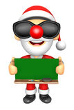 Wear sunglasses 3D Santa Mascot holding a big board with both Gr Royalty Free Stock Images