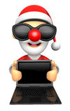 Wear sunglasses 3D Santa Mascot holding a big board with both La Stock Photos