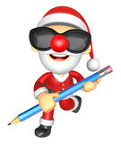 Wear sunglasses 3D Santa Mascot holding a big board with both Pe Royalty Free Stock Images
