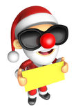 Wear sunglasses 3D Santa Mascot holding a big board with both Ye Stock Image