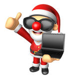 Wear sunglasses 3D Santa Mascot the left hand best gesture and r Stock Image