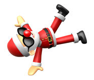 Wear sunglasses 3D Santa mascot playing breakdance. 3D Christmas Royalty Free Stock Photography