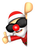 Wear sunglasses 3D Santa Mascot the right hand best gesture and Royalty Free Stock Image