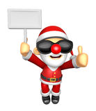 Wear sunglasses 3D Santa Mascot the right hand best gesture and Royalty Free Stock Photo