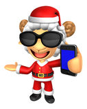 Wear sunglasses 3D Santa Sheep Mascot the left hand guides and t Royalty Free Stock Photos