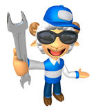 Wear sunglasses 3D Service Sheep Mascot the left hand guides and Royalty Free Stock Image