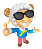Wear sunglasses 3D Sheep mascot the left hand guides and the rig Royalty Free Stock Image