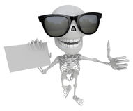 Wear sunglasses 3D Skeleton Mascot the left hand best gesture an Royalty Free Stock Photo