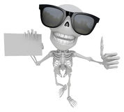 Wear sunglasses 3D Skeleton Mascot the left hand best gesture an Royalty Free Stock Photos