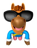 Wear sunglasses Korea Traditional 3D Horse Mascot is a polite gr Royalty Free Stock Image