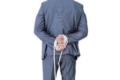 Wear view of businessman with hands attach Royalty Free Stock Images