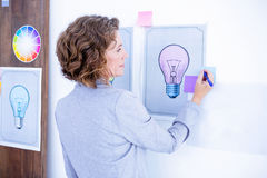 Wear view of creative businesswoman writing on post it Stock Image
