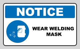 Wear a welding mask. Sign. Information mandatory symbol in blue circle isolated on white. Vector illustration. Notice label vector illustration