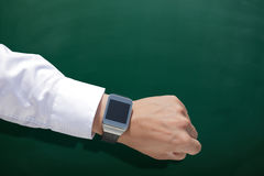 Wearable Slim horloge met bord royalty-vrije stock foto