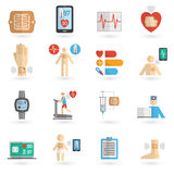 Wearable smart patch flat icons Stock Photos