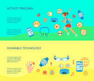 Wearable Technology Compositions Set. Wearable Technology Flat Concept. Wearable Technology Compositions. Wearable Gadgets Horizontal Banners. Wearable Gadgets Stock Image