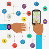 Wearable technology concept. Map and traveling app Stock Image
