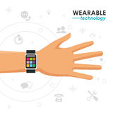 Wearable technology hand smartwatch media icons Stock Photos