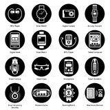Wearable Technology Icons Black Stock Photography