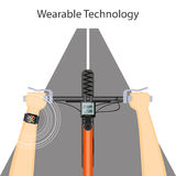 Wearable technology with smart watch and bike handlebar. Flat modern vector illustration concept of wearable technology with smart watch, speedometer  and hands Stock Photography