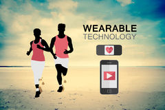 Wearable technology vector with jogging couple Royalty Free Stock Photo