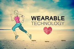Wearable technology vector with jogging woman. Digitally generated Wearable technology vector with jogging woman Stock Image