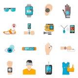 Wearable teknologisymbolsuppsättning royaltyfri illustrationer