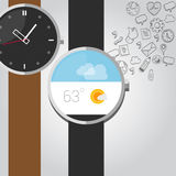 Wearable vector smart watches with icon Royalty Free Stock Photos