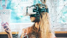 Virtual reality game teenager testing at home, digital dots and lines connected royalty free stock photography