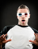 Wearing 3d glasses Royalty Free Stock Photo