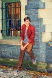 Young Man Waiting for You outside Royalty Free Stock Photos