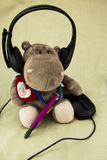 Wearing earphones Hippo using the mouse, Stock Photos