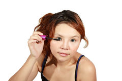 Wearing eyes mascara Stock Image