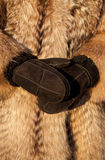 Wearing fur coat and mittens in cold winter Royalty Free Stock Images