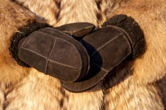Wearing fur coat and mittens in cold winter Royalty Free Stock Photography