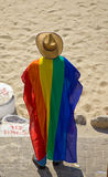 Wearing the gay flag. A man wearing the flag of the gay community, The gay parade Tel-Aviv 2009 Stock Photo