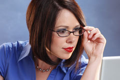 Wearing glasses Stock Image
