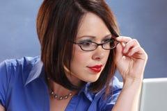 Wearing glasses Stock Image