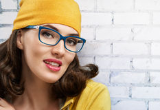 Wearing glasses. A beauty woman wearing glasses stock images
