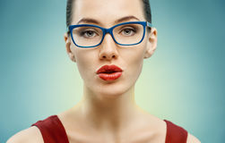Wearing glasses. A beauty woman wearing glasses Stock Photos