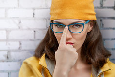 Wearing glasses Stock Photo