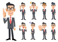 Wearing glasses businessman`s gestures and expression _ Nine types of whole body vector illustration